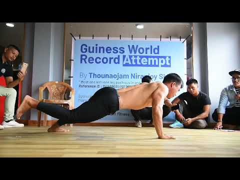 Guinness world record holder Thounaojam Niranjoy (most one arm one leg push-ups in one minute)